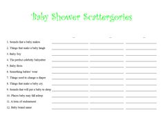 DIY Printable DIGITAL Download - Baby Shower Scattergories Game ...