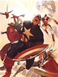 The Avengers are joined by Captain America by Alex Ross. A homage to the epic cover by Jack Kirby to Avengers Marvel Comics Art, Avengers Comics, Marvel Heroes, Marvel Characters, Marvel Avengers, Captain Marvel, Alex Ross, Avengers Images, The Avengers