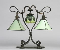 Hector Guimard Art Nouveau Glass and Wrought Metal Lamp