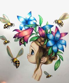 Beauty and the bees Oil Pastel Drawings, Pencil Art Drawings, Art Drawings Sketches, Colorful Drawings, Easy Drawings, Animal Drawings, Bel Art, Desenhos Love, Unicorn Art