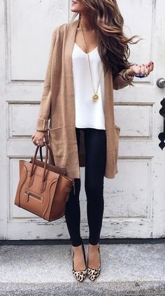 #spring #outfits Camel Cardigan & White Top & Black Skinny Jeans & Leopard Pumps