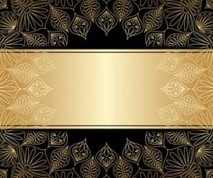 Luxury golden decor with background vector 01