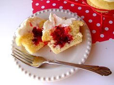Raspberry filled cupcakes.  This would be a good way to use my Raspberry pie filling.