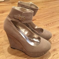 Tan Wedges Strap around the ankles. Worn 3 times. GREAT condition. Qupid Shoes Wedges