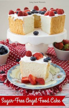 Sugar Free Angel Food Cake, Desserts, This delicious Sugar Free Angel Food Cake recipe is super easy to make, low carb, and perfect for diabetics. An incredible sugar free dessert. Sugar Free Angel Food Cake Recipe, Sugar Free Desserts, Sugar Free Recipes, Köstliche Desserts, Low Carb Recipes, Healthy Recipes, Diabetic Dessert Recipes, Diabetic Snacks, Sugar Free Trifle Recipe