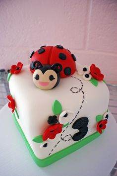 Ladybug Birthday Cake - Find more Ladybug Party Ideas at http://www.birthdayinabox.com/party-ideas/guides.asp?bgs=139