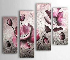 Hand-painted Floral Oil Painting with Stretched Frame - Set of 4 - Wall Art Ideas Oil Painting Flowers, Oil Painting Abstract, Abstract Wall Art, Painting & Drawing, Floral Paintings, Oil Paintings, Oil Paint Set, Painting Inspiration, Flower Art