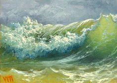 Surfing Wave  ACEO  original oil painting. by vladimirmesheryakov, $79.99