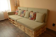 Pallet Cushioned Couch with Drawers - 130+ Inspired Wood Pallet Projects | 101 Pallet Ideas - Part 9