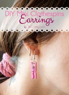 DIY Cute Mini Clothespins Earrings Tutorial