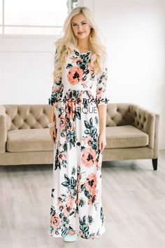 Now coming in floor length, this maxi dress is as pretty and comfortable as they come! Ivory maxi dress features a pink, black and mint watercolor floral print, elastic waist, 3/4 length sleeves and your favorite: front pockets!