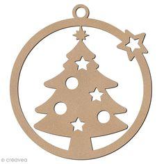 Forme en bois à suspendre - boule de Noël Sapin de pain d'épices - 7 cm