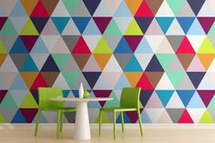 "Multicoloured Triangles Wallpaper | MuralsWallpaper.co.uk To see more of the geometric design trend, follow Jill Jordan's board ""Trending Triangle: Geometric Pattern Deigns"""