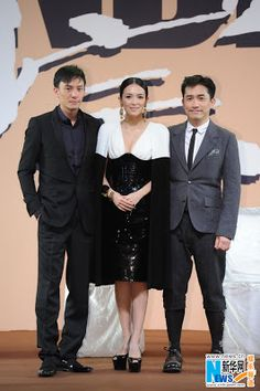 "Zhang Ziyi, Tony Leung and Chang Chen at  the premiere ceremony of  Wong Kar Wai's new film ""The Grandmaster"" in Beijing, January 6, 2013."