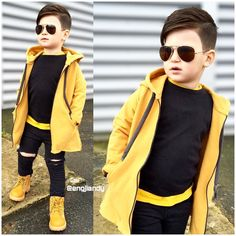 yellow outfit for today Stylish Little Boys, Trendy Kids, Stylish Kids, Toddler Boy Fashion, Little Boy Fashion, Little Boy Outfits, Baby Boy Outfits, Outfits Niños, Kids Outfits