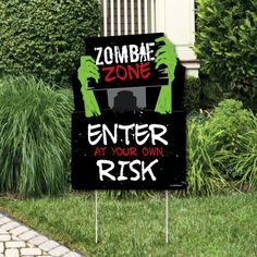 Zombie Party Games, Zombie Halloween Party, Zombie Birthday Parties, Nerf Party, Halloween Party Decor, Birthday Party Themes, Zombie Party Decorations, Lawn Decorations, 9th Birthday