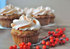 sea buckthorn cupcakes with delicate mousse.