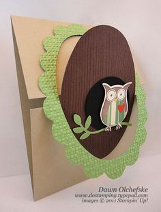 Stampin' Up! Scallop Oval Frame Owl Card and Gate Fold Latch Video - DOstamping with Dawn, Stampin' Up! Demonstrator