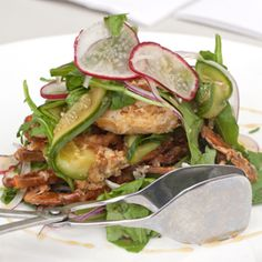 Peppered soft shell crab with pickled cucumber, red radish and round mint at Sydney café Deckhouse, located on beautiful Woolwich Dock.