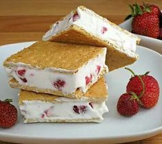 Gram coolwhip and strawberry ice cream sandwich