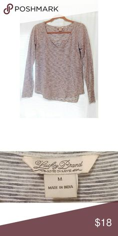 Lucky brand cotton top Long sleeves, cream with thin navy stripes Lucky Brand Tops Tees - Long Sleeve