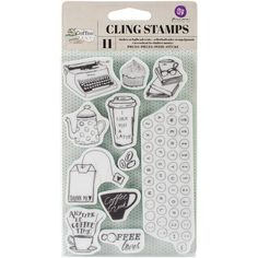 Prima Marketing-Coffee Break Cling Rubber Stamps. Create unique images quickly for your paper crafts! Apply to any acrylic block and stamp. This package contains eleven cling rubber stamps on one 6x4 inch backing sheet. Imported.