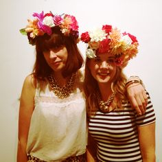 The founders of Pinned it Made it wear their Mexican floral headdress at the workshop I attended (photo by me, Amelia Gregory)