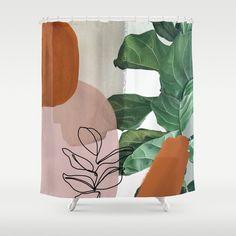 Simpatico V2 Duschvorhang Bathroom Plants, Bathroom Shower Curtains, Abstract Print, House Plants, Artwork, Pattern, Color, Bathrooms, Hooks