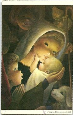0791K PRECIOSA POSTAL  - SERIE 357 - 11,3X7 CM -  ILUSTRA FERRÁNDIZ Christmas Art, Vintage Christmas, Xmas, Illustrations, Illustration Art, Kids Poems, Madonna And Child, Baby Jesus, Blessed Mother