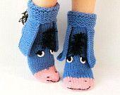 Eeyore knitted socks , the donkey from Winnie the Pooh! Socks - Toy. Adult size. Knit Socks. Handmade gift. Wool Socks. Warm socks.