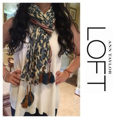 """LOFT scarf with tassels Viscose linen blend scarf on two different pastel prints. Combining class and style. Finished with 4 tassels on each corner. 70"""" x 25"""". Worn once LOFT Accessories Scarves & Wraps"""