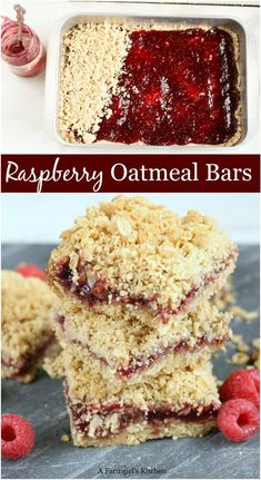 these homemade Raspberry Oatmeal Crumble Bars with only a few simple ingredients and a jar of Smucker's Jam.Make these homemade Raspberry Oatmeal Crumble Bars with only a few simple ingredients and a jar of Smucker's Jam. Raspberry Bars, Raspberry Recipes, Raspberry Cookies, Easy Raspberry Desserts, Desserts With Raspberries, Fall Desserts, Just Desserts, Delicious Desserts, Yummy Food