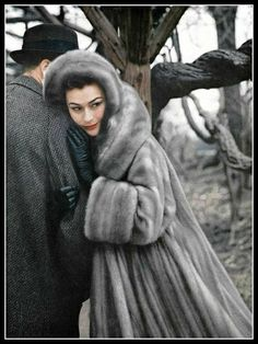 Anne Gunning in Cerulean EMBA mink coat by John F. Morris Inc., photo by Virginia Thoren, 1957