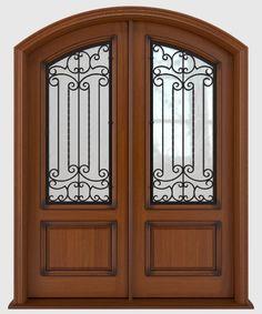 Antigua Iron and Wood Door Series Entry Doors For Sale, Double Front Entry Doors, Wood Entry Doors, Wood Exterior Door, Iron Doors, Building, Glass, Modern, House