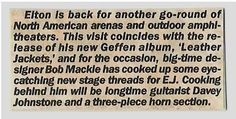 John, Elton / Elton Is Back for Another Go-Round | Magazine Article (1986)