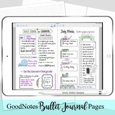 Do you love to Bullet journal but youd like to go digital? Turn your digital journal into a bujo with these 2 bullet journal planner pages perfect for iPad apps like GoodNotes. Write and decorate on your iPad just like you would on paper and add your own decorative digital planner stickers to personalise your pages.  You receive 2 Bullet Journal page images.  Tips for Adding these as Pages in GoodNotes  Watch a quick How To video on my YouTube channel at https://youtu.be/DT2Wjrenk_4…