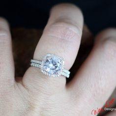 White Topaz Diamond Cushion halo Engagement ring band Set 2.5ct 8mm white-yellow-rose gold-Custom made-Wedding-Anniversary-Layawa 14k-18k