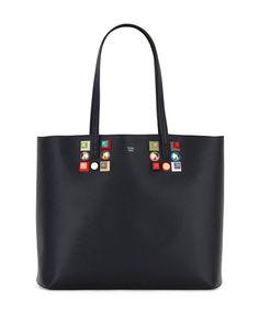 V35YS Fendi Studded Leather Shopping Tote Bag, Black