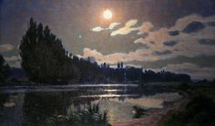 - Claire Lune by French Symbolist painter Charles Guilloux Nocturne, Abstract Landscape, Landscape Paintings, Impressionist Paintings, Color Of Night, Night Shadow, Post Impressionism, Art Studies, Great Artists