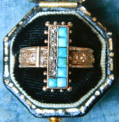 Antique Victorian Turquoise and Rose Cut Diamond Ring. $785.00, via Etsy.