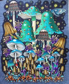 """WIP NO MORE 🙌 I love this page in Hanna Karlzons gorgeous book Sommarnatt💙💚💙 And it was nice to take time out from my own coloringbook """"Bland ugglor och förgätmigej"""" Have a great week dear coloring pals ❤️🤗 Mushroom Drawing, Mushroom Art, Colouring Pages, Adult Coloring Pages, Coloring Book Pages, Psy Art, Hippie Art, Arte Popular, Color Pencil Art"""