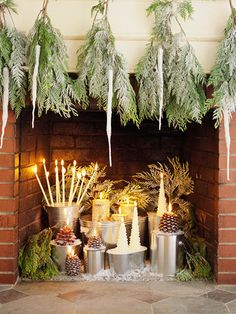 Give your fireplace a healthy glow with a creative candle arrangement.