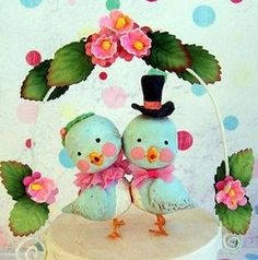 whimsical wedding cake love birds