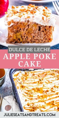 This delicious Dulce de Leche Apple Poke Cake starts with a white cake mix that's leveled up with a few additional spices and apple pie filling for a fall flavor. After the cake is baked you will drizzle Dulce de Leche over the top and top with spiced whipped cream and nuts! #poke #cake Apple Poke Cake, Apple Pie, Sweets Cake, Cupcake Cakes, Cupcakes, Fall Desserts, Delicious Desserts, Cake Recipes, Dessert Recipes