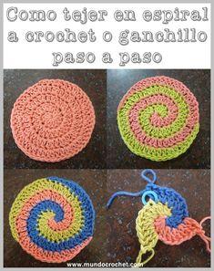 Cómo tejer en espiral a crochet o ganchillo paso a paso Filet Crochet, Spiral Crochet, Crochet Chart, Crochet Stitches, Knit Crochet, Crochet Square Patterns, Crochet Squares, Crochet Granny, Crochet Baby Hats