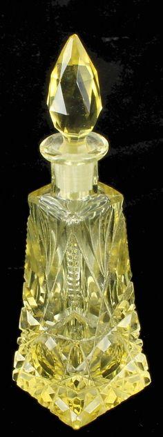 Antique Czech Vaseline Uranium Yellow Cut Glass Perfume Scent Bottle Stopper 20s | eBay