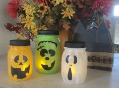 Halloween Monster Jars  Halloween Decor by WyliesWhimsicals, $24.00