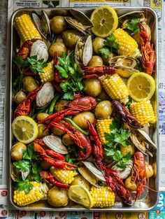 Seafood Boil with Crawfish and Clams Seafood Boil with Crawfish and Clams Clams Seafood, Seafood Platter, Fish And Seafood, Seafood Boil Party, Seafood Dinner, Crawfish Party, Food Platters, Food Dishes, Seafood Lasagna