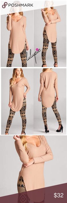 """✳️SALE✳️Mocha Ribbed Long Sleeve Tunic Top Mocha Ribbed Long Sleeve Top featuring a V neckline and round hem. Made of Rayon/spandex blend. Perfect to pair with leggings also available in my closet . Measurements for small: laying flat from pit to pit 16""""/ length 25"""". Marled. MADE IN USA Bchic Tops"""