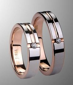 Couple's rose gold tungsten wedding band set with CZ